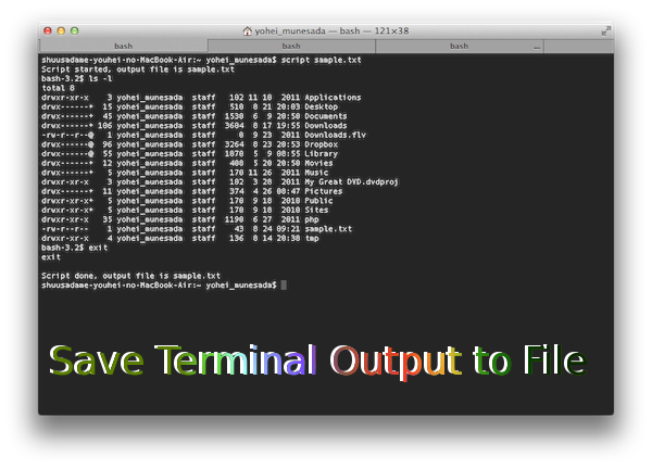 Save Terminal Output to File